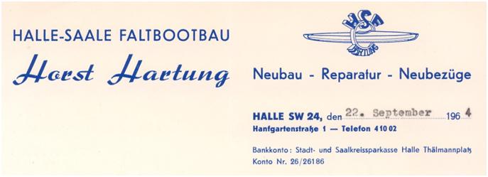 Horst Hartung Visitenkarte 1964